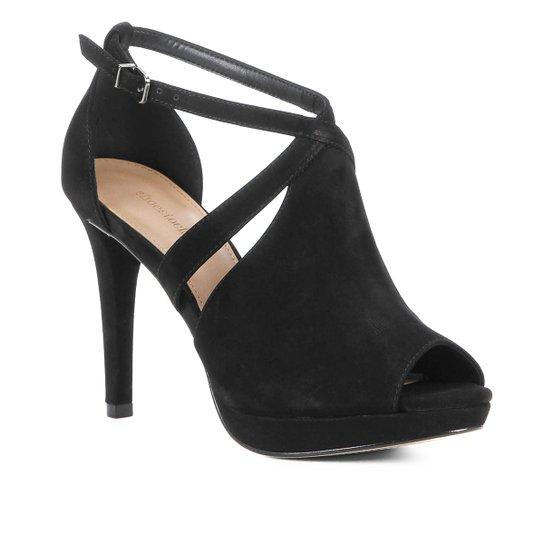 Sandália Shoestock Nobuck Meia Pata Feminina - Preto