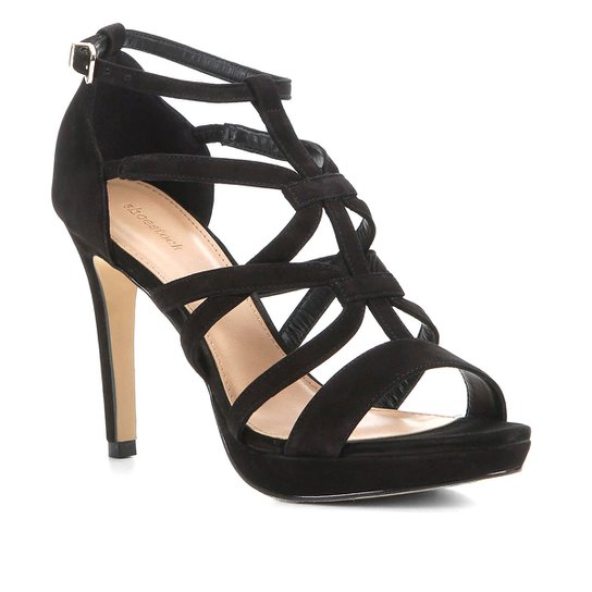 Sandália Shoestock Nobuck Tiras Salto Fino Feminina - Preto