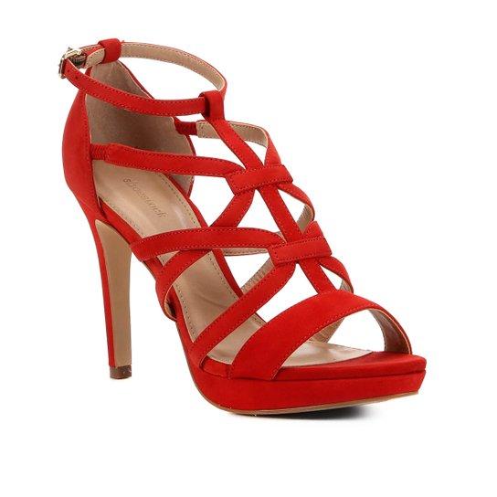 Sandália Shoestock Nobuck Tiras Salto Fino Feminina - Vermelho