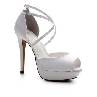 Sandália Shoestock Noiva Meia Pata Cetim Feminina