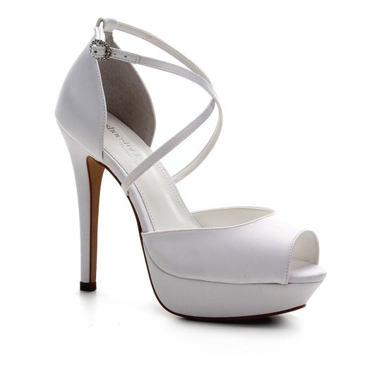 Sandália Shoestock Noiva Meia Pata Cetim Feminina - Branco