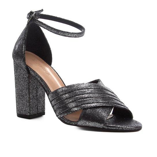 Sandália Shoestock Plissada Salto Bloco Feminina - Prata