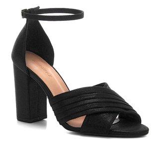 Sandália Shoestock Plissada Salto Bloco Feminina