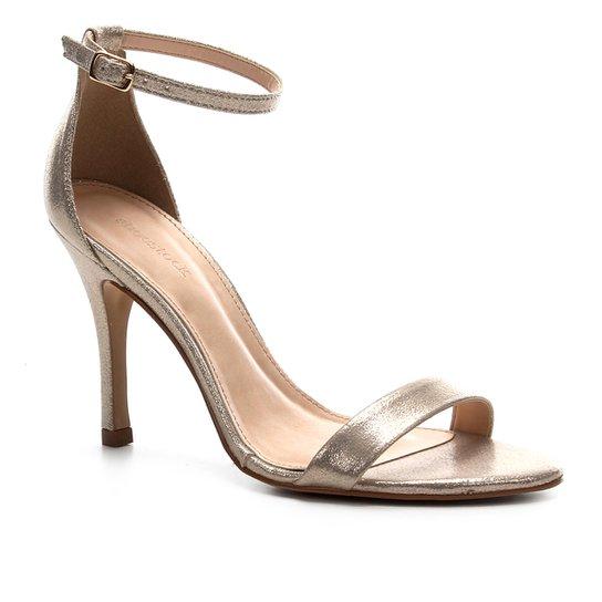 Sandália Shoestock Salto Alto Glitter Feminina - Ouro