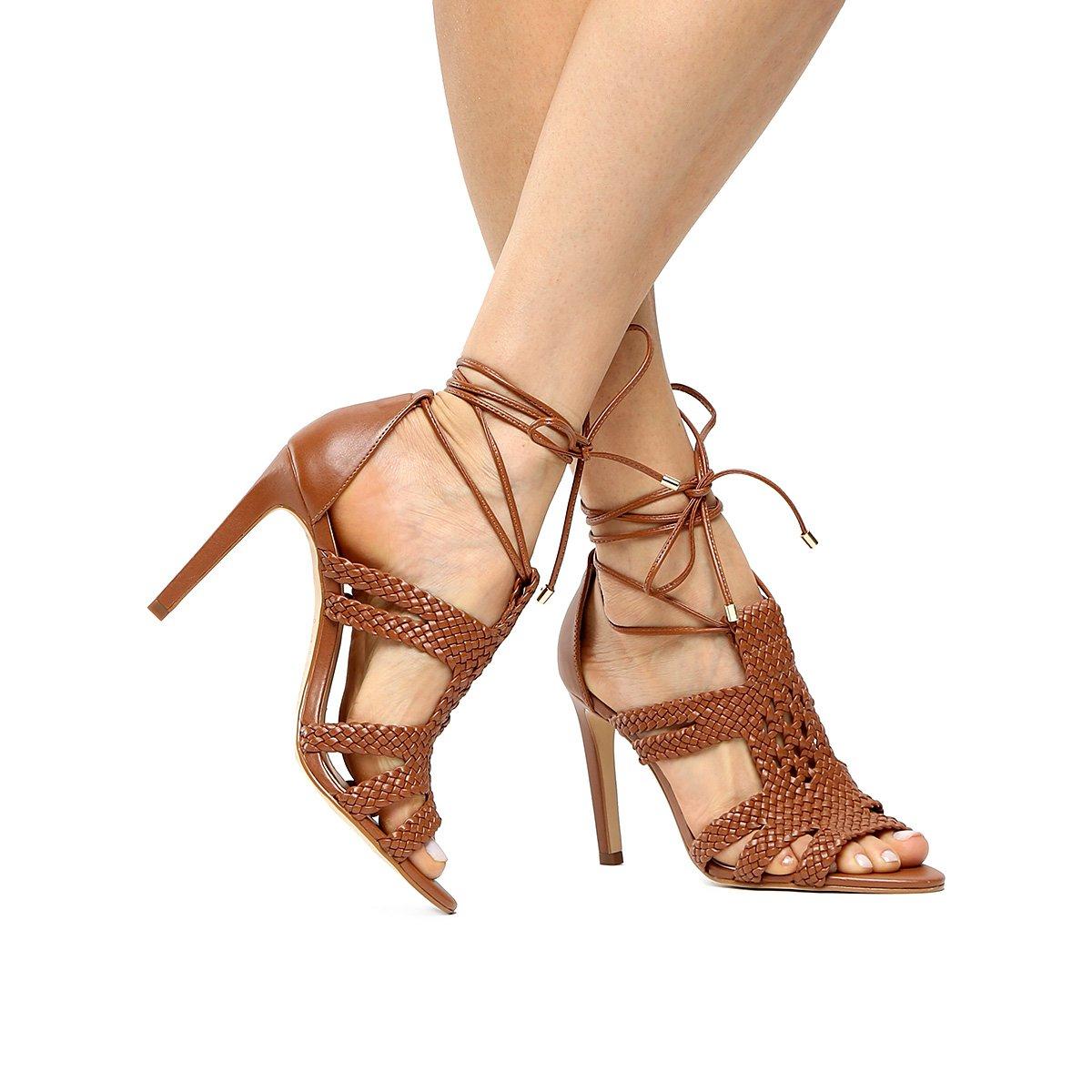 959af7cd6d086 Macramê Sandália Feminina Sandália Salto Alto Shoestock Caramelo Shoestock  fw5qX8 ...