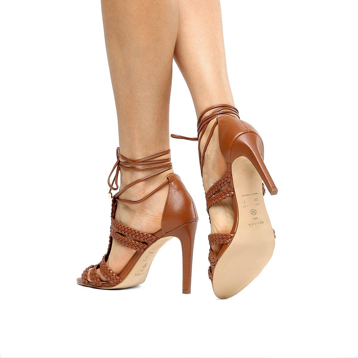 f1dcbf7758fd2 ... Macramê Sandália Feminina Sandália Salto Alto Shoestock Caramelo  Shoestock fw5qX8 ...