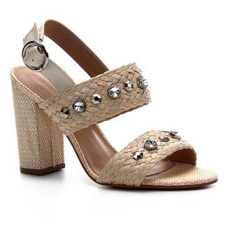 Sandália Shoestock Salto Alto Trança Pedraria Feminina