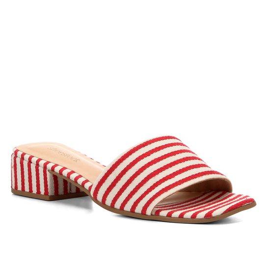 Sandália Shoestock Salto Baixo Listrada Feminina - Vermelho