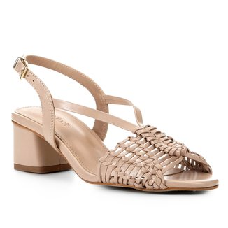 Sandália Shoestock Salto Baixo Macramê Feminina