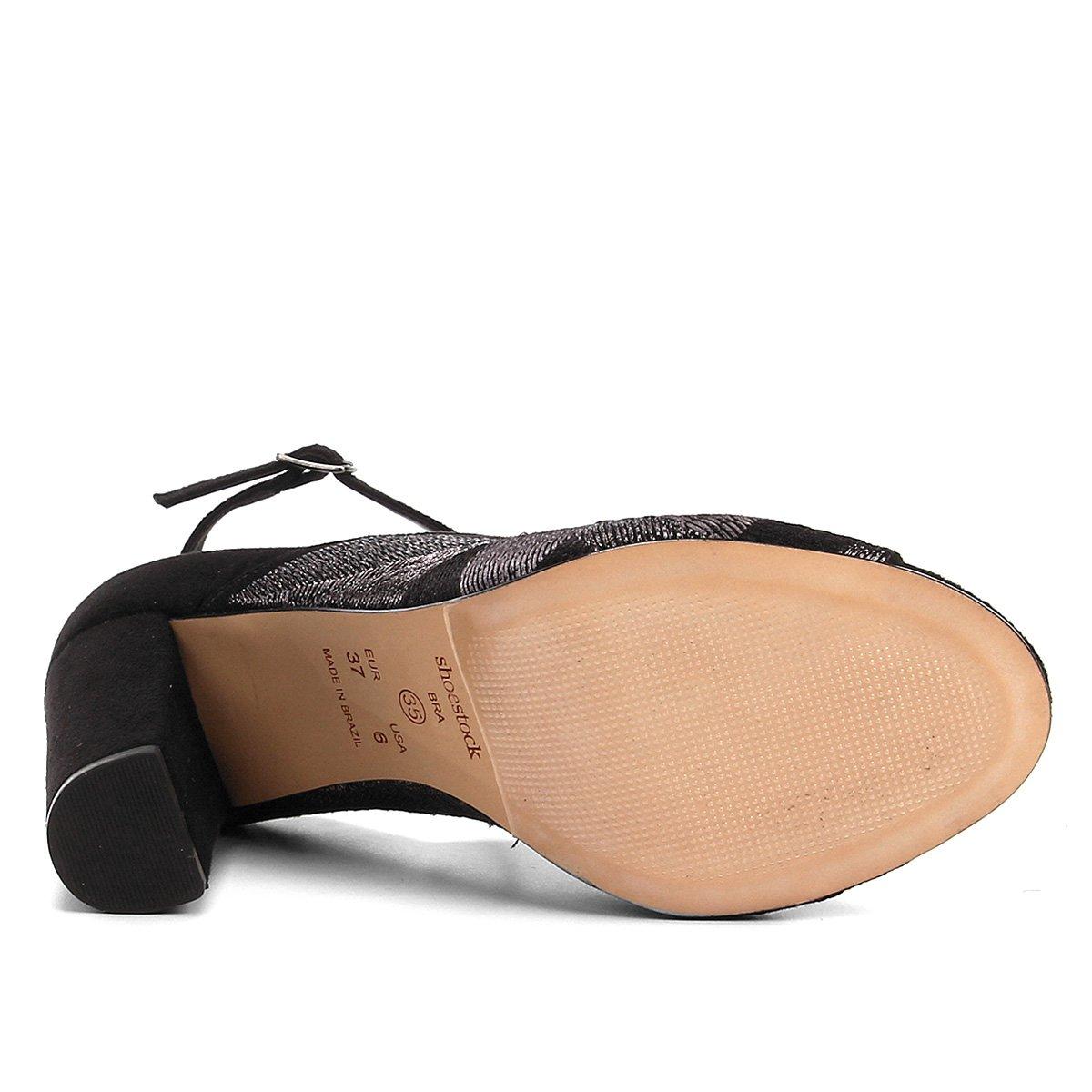 Sandália Shoestock Salto Bloco Bordado Feminina - Preto