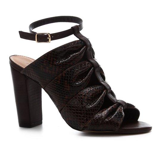 Sandália Shoestock Salto Bloco Couro Snake Drapeado - Marrom