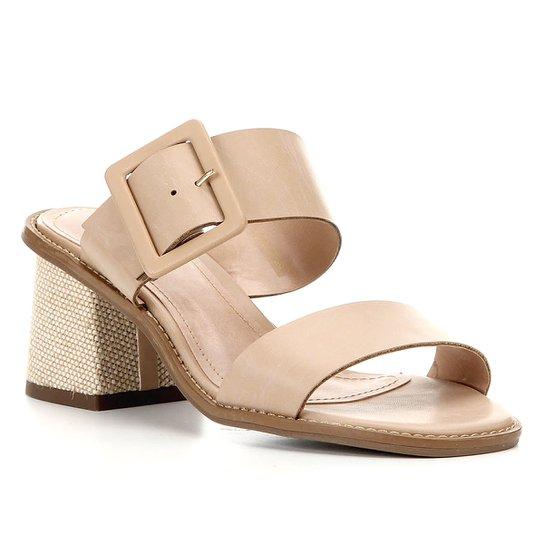 Sandália Shoestock Salto Bloco Fivela Feminina - Bege