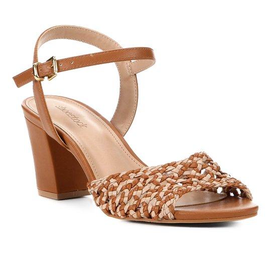 Sandália Shoestock Salto Bloco Macramê Feminina - Caramelo