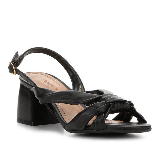 Sandália Shoestock Salto Bloco Nó Feminina - Preto