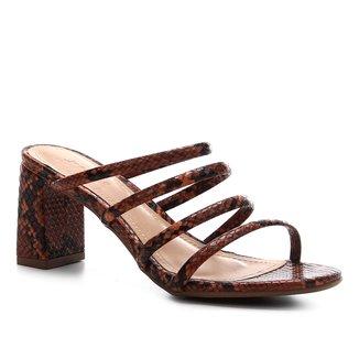 Sandália Shoestock Salto Bloco Snake Feminina