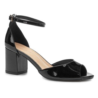Sandália Shoestock Salto Bloco Verniz Feminina