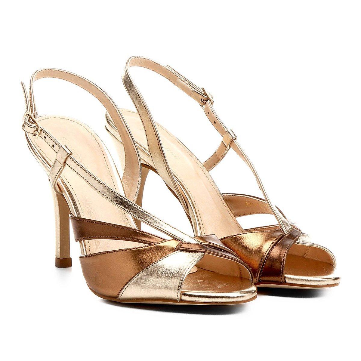 Fino Sandália Feminina Alto Shoestock Bronze Shoestock Salto Sandália Ondas IxZwnTApq