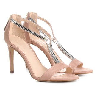 Sandália Shoestock Salto Fino Cristais Feminina