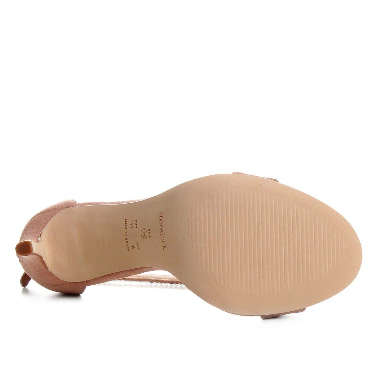 Nude Fino Feminina Shoestock Salto Sandália Sandália Cristais Salto Shoestock Fino Cristais vRTqw
