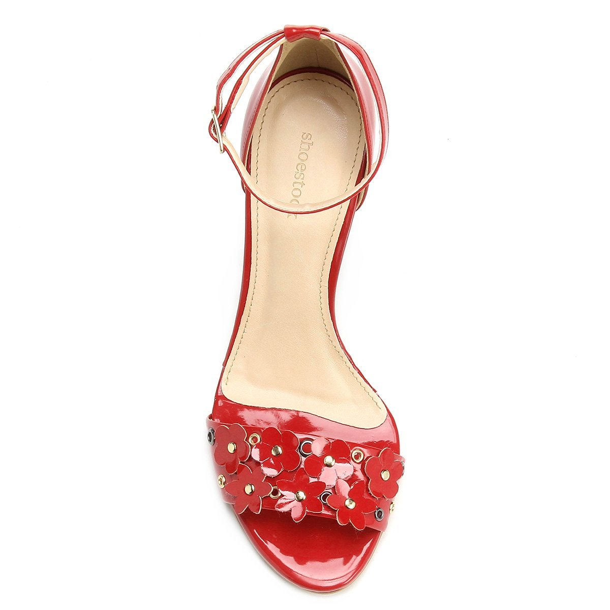 Flores Sandália Shoestock Feminina Vermelho Fino Sandália Shoestock Salto Salto p4wWxqwYAd