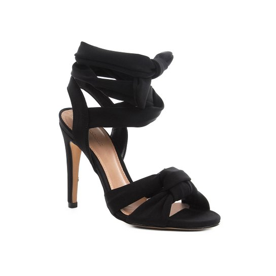 Sandália Shoestock Salto Fino Lace Up Feminina - Preto