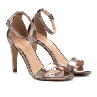 Sandália Shoestock Salto Fino Metalizada Feminina