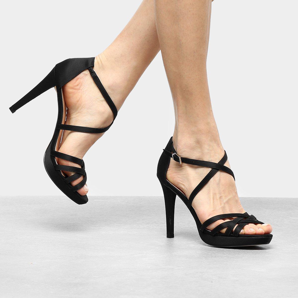 Sandália Shoestock Salto Fino Recortes Feminina - Preto