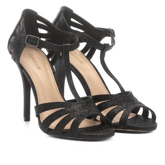 Sandália Shoestock Salto Fino Shine Feminina