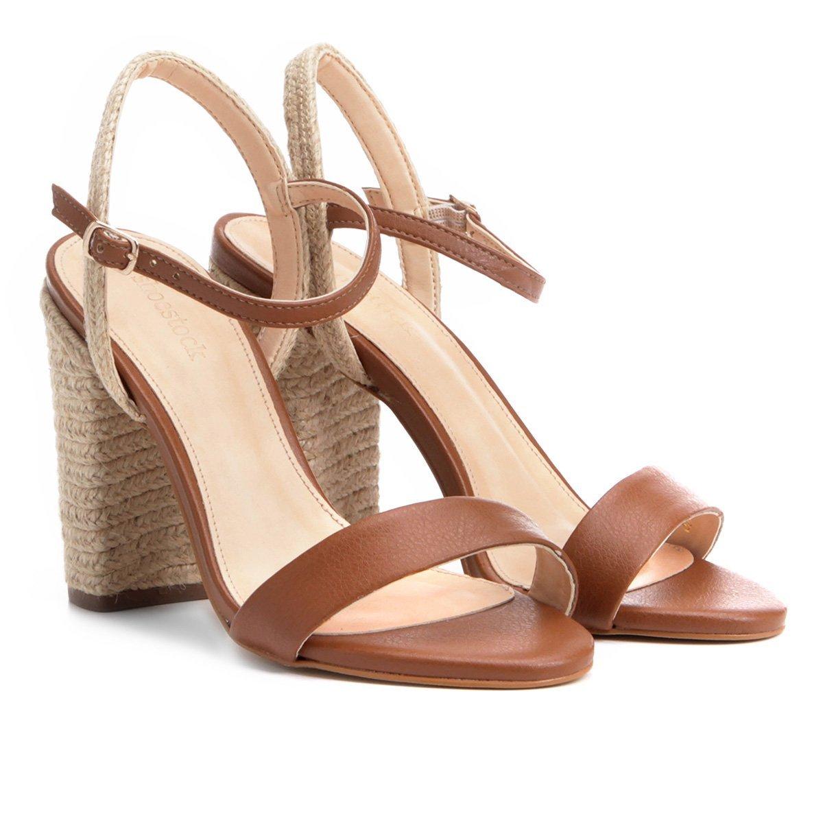 Feminina Corda Shoestock Sandália Salto Sandália Corda Grosso Salto Shoestock Caramelo Grosso q6RwnCH