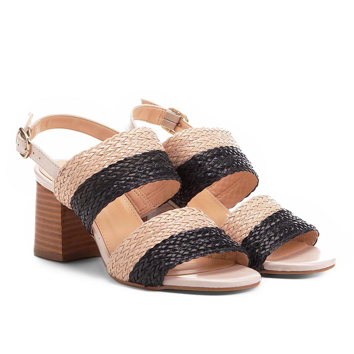 708d8c4551 Sandália Shoestock Salto Grosso Mix Tressê Feminina - Preto - Compre Agora