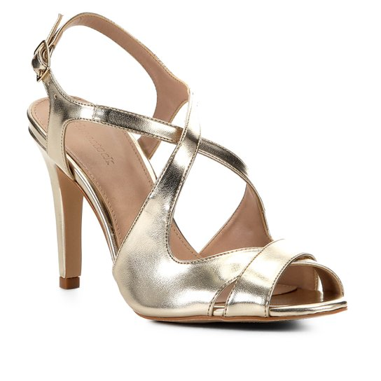 Sandália Shoestock Salto Médio Tiras Metalizada Feminina - Dourado