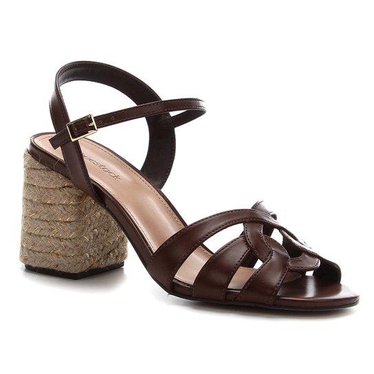 Sandália Shoestock Tiras Salto Bloco Feminina - Marrom