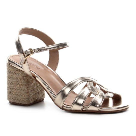 Sandália Shoestock Tiras Salto Bloco Feminina - Dourado