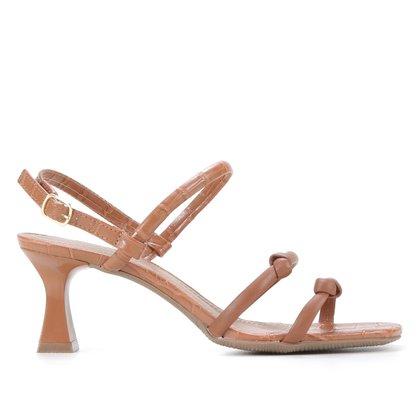 Sandália Shoestock Tiras Salto Grosso Médio Feminina