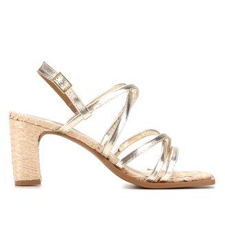 Sandália Shoestock Tiras Salto Ráfia