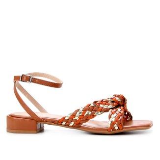 Sandália Shoestock Tressê Salto Baixo Feminina