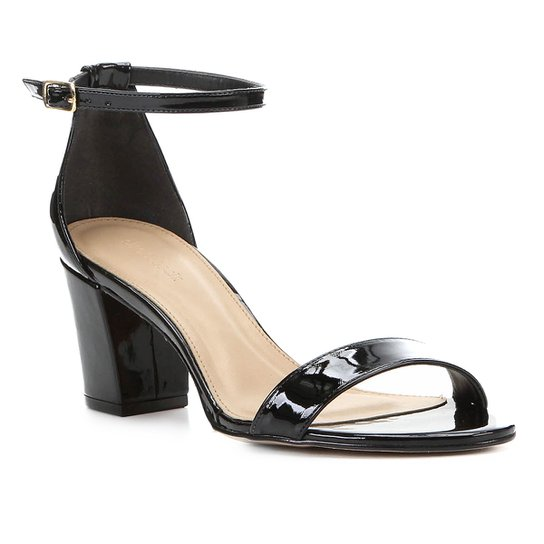 Sandália Shoestock Verniz Salto Médio - Preto