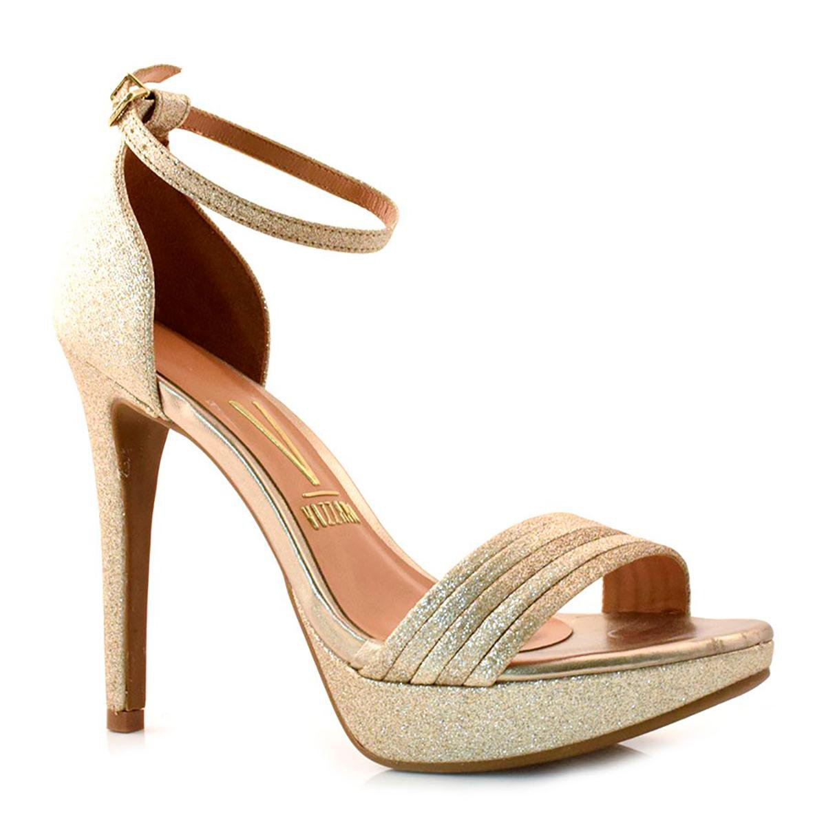 Sandália Social Vizzano Gliter Feminina - Dourado - Compre Agora ... 2da35e71bfe12