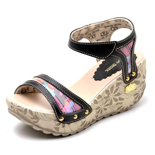 Sandalia Top Franca Shoes Betina Beker Plataforma Anabela  Feminina - Preto