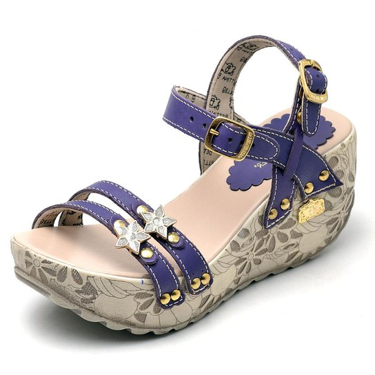 Sandalia Top Franca Shoes  Betina Beker Plataforma Anabela  Feminina - Marinho