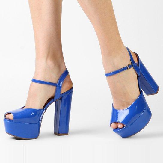 Sandália Vizzano Meia Pata Verniz - Azul