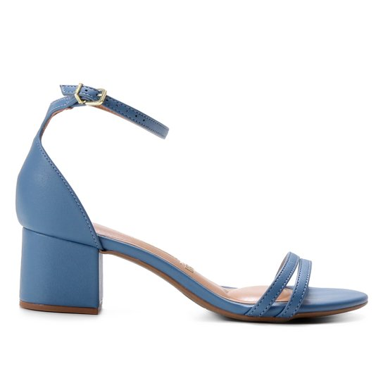 Sandália Vizzano Salto Grosso Feminina - Azul