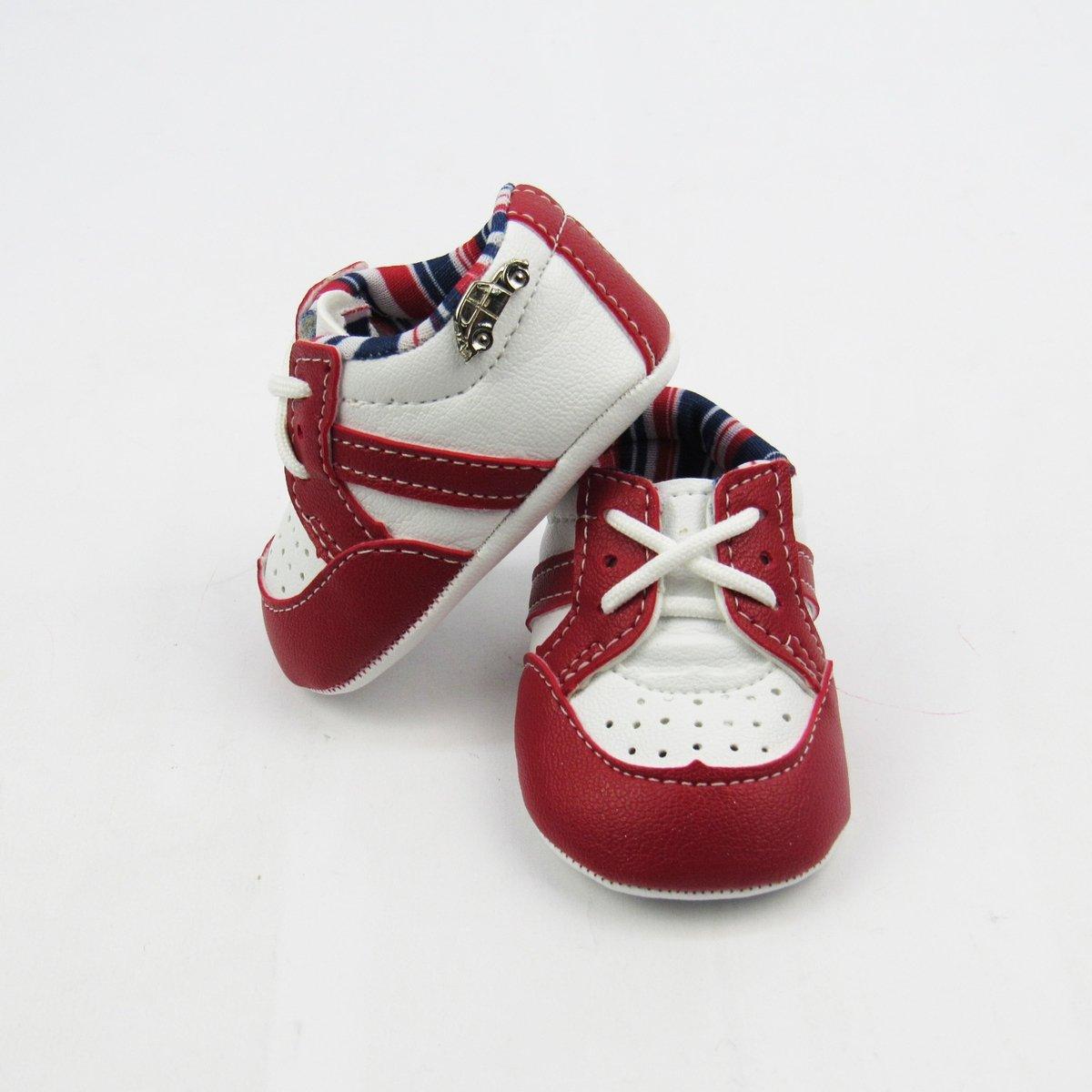 86ee86bfd9 Sapatênis Bebê Masculino Branco e Vermelho com Cadarço -M - Compre Agora