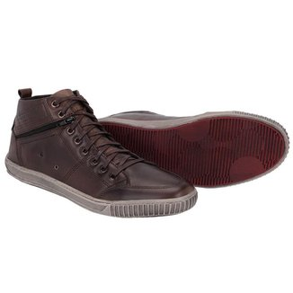 Sapatênis Cano Alto Couro Tchwm Shoes  Moderno Masculino
