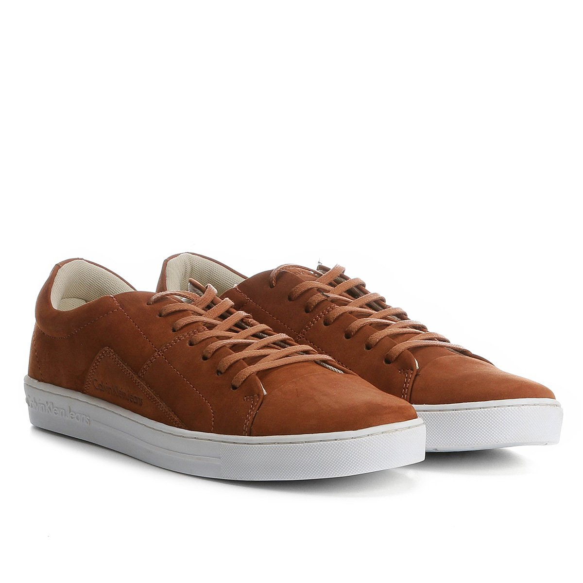 1166b23e823af Sapatênis Couro Calvin Klein Masculino - Marrom Claro - Compre Agora ...