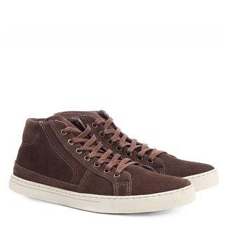 Sapatênis Couro Shoestock Cano Alto Recortes Masculino