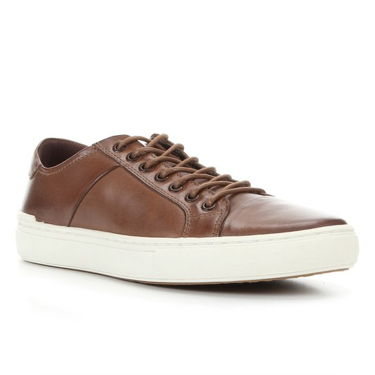 Sapatênis Couro Shoestock Liso Masculino - Caramelo