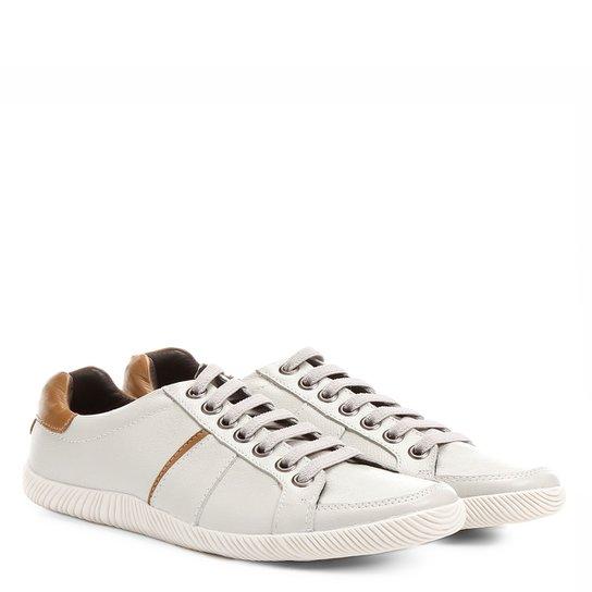 Sapatênis Couro Shoestock Recorte Masculino - Off White