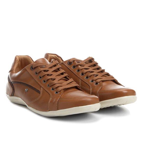 Sapatênis Couro Shoestock Recortes Masculino - Caramelo