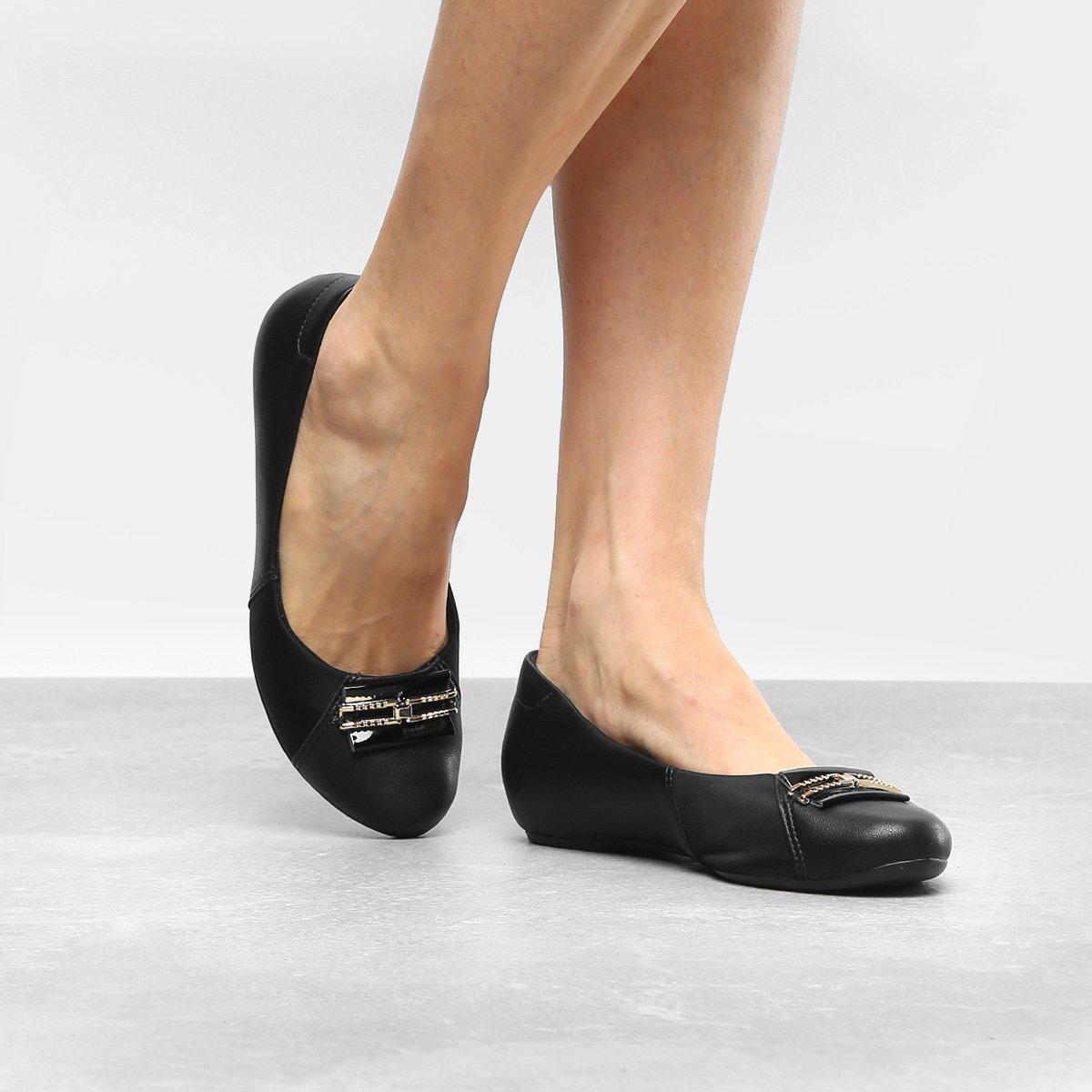 Embutido Sapatilha Feminina Preto com Sapatilha Comfortflex Salto Comfortflex q1wnZ